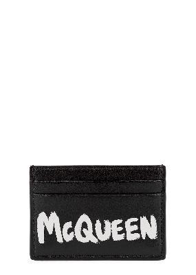 Black logo-print leather card holder
