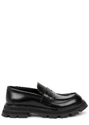 Black glossed leather loafers