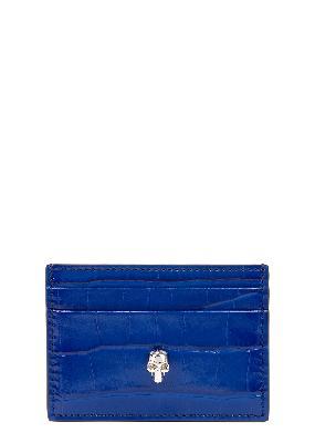Blue skull-embellished leather card holder