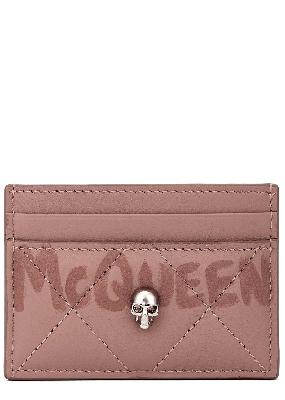 Blush logo quilted leather cardholder