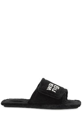 Lana black logo-embellished velour slippers