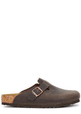 Boston brown leather sliders