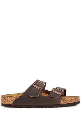 Arizona brown leather sliders