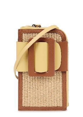 Buckle raffia cross-body phone case