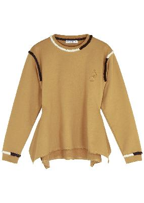 Camel embroidered cotton sweatshirt