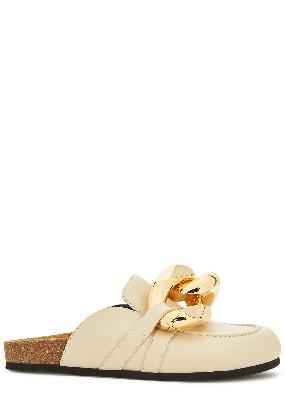 Cream chain-embellished leather mules