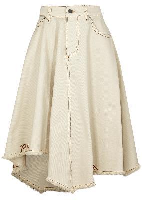 Cream asymmetric denim skirt