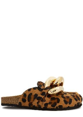 Leopard-print chain-embellished calf hair mules