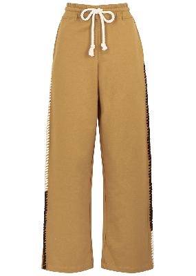 Camel embroidered wide-leg cotton sweatpants