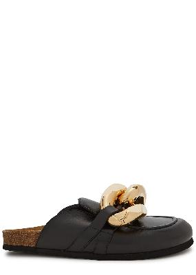 Black chain-embellished leather mules