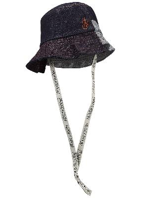 Blue asymmetric denim bucket hat