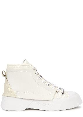 White panelled hi-top sneakers