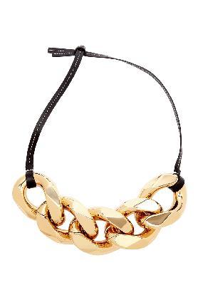 Large black chain-embellished leather strap