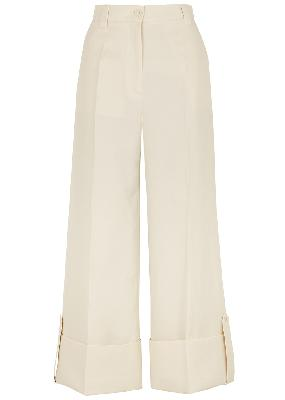 Ivory cropped wide-leg twill trousers