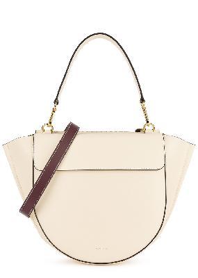 Hortensia medium ivory leather top handle bag