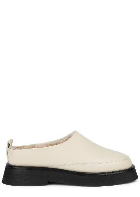 Rosa shearling-lined leather backless loafers