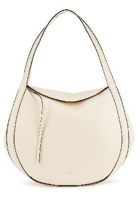 Lin ivory leather top handle bag