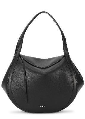 Lin black leather top handle bag