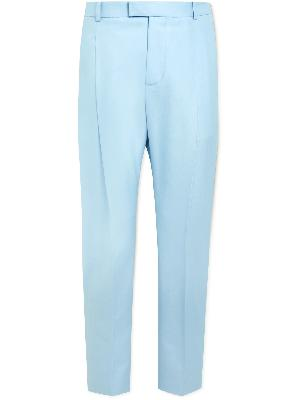 Alexander McQueen - Tapered Pleated Cotton Suit Trousers