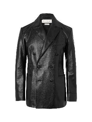 ALEXANDER MCQUEEN - Slim-Fit Double-Breasted Leather Blazer
