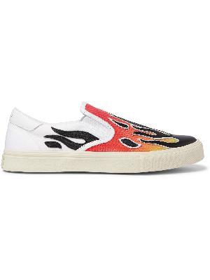 AMIRI - Flame Leather-Appliquéd Canvas Slip-On Sneakers