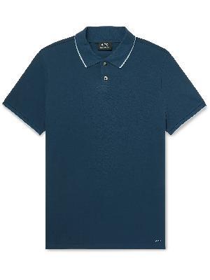 A.P.C. - Max Slim-Fit Contrast-Tipped Cotton-Piqué Polo Shirt
