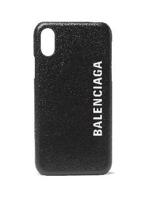Balenciaga - Logo-Print Full-Grain Leather iPhone X Case