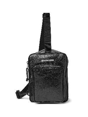 BALENCIAGA - Logo-Print Crinkled-Leather Messenger Bag