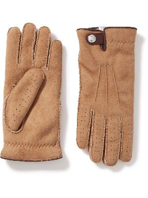 Brunello Cucinelli - Shearling-Lined Perforated Suede Gloves