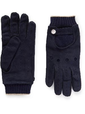 Brunello Cucinelli - Perforated Suede and Cashmere Gloves