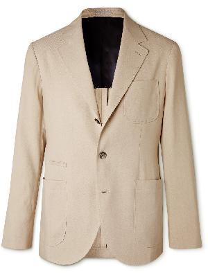 Brunello Cucinelli - Unstructured Herringbone Paper and Silk-Blend Suit Jacket