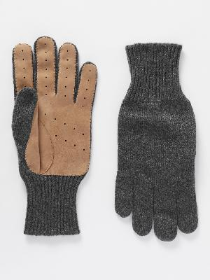 Brunello Cucinelli - Perforated Suede-Panelled Cashmere Gloves
