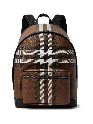 BURBERRY - Leather-Trimmed Checked Coated-Canvas Backpack