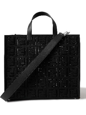 FENDI - Logo-Embroidered Leather-Trimmed Cotton-Canvas Tote