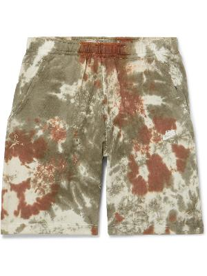 NIKE - Wide-Leg Tie-Dyed Loopback Cotton-Blend Terry Drawstring Shorts