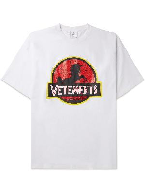 Vetements - Oversized Logo-Embroidered Printed Cotton-Jersey T-Shirt