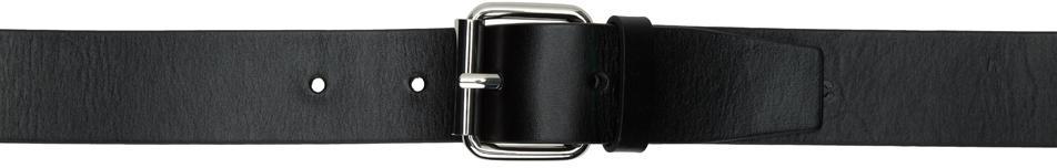 032c Black Double Buckle Leather Belt