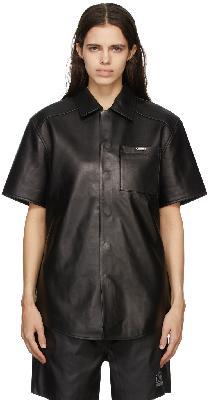032c Black Leather Short Sleeve Shirt