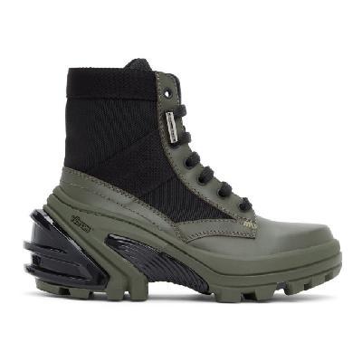 1017 ALYX 9SM Black and Khaki Fuoripista Lace-Up Boots