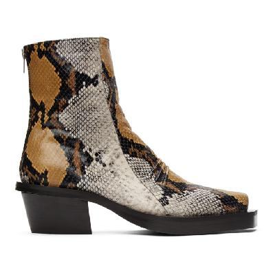 1017 ALYX 9SM Brown Snake Leone Zip Boots