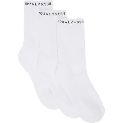 1017 ALYX 9SM Three-Pack White Logo Socks