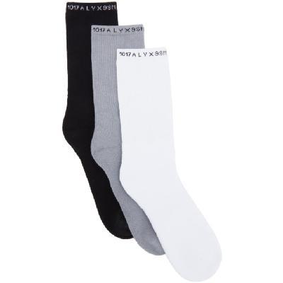 1017 ALYX 9SM Three-Pack Multicolor Logo Socks