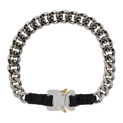1017 ALYX 9SM Silver & Black Leather Details Chain Necklace