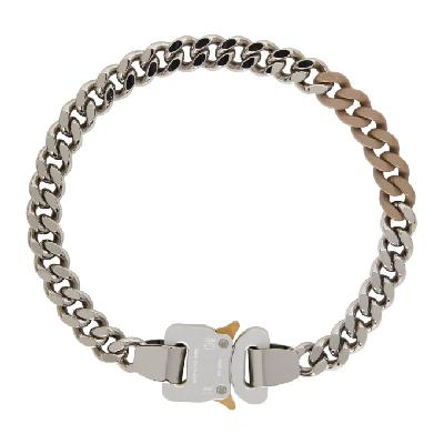 1017 ALYX 9SM SSENSE Exclusive Silver & Beige Colored Links Buckle Necklace