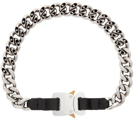 1017 ALYX 9SM Silver Chain & Leather Buckle Necklace
