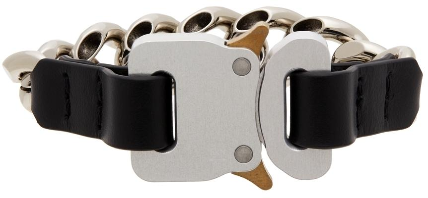1017 ALYX 9SM Silver & Black Leather Details Chain Bracelet
