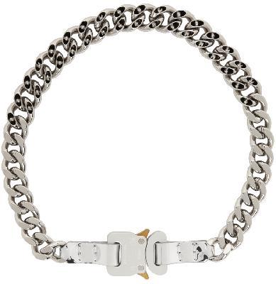 1017 ALYX 9SM SSENSE Exclusive Silver Leather Trim Chain Necklace