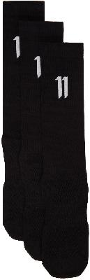 11 by Boris Bidjan Saberi Three-Pack Black Logo '11' Socks
