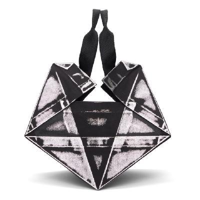 132 5. ISSEY MIYAKE Black & Silver Luster Standard No. 4 Bag