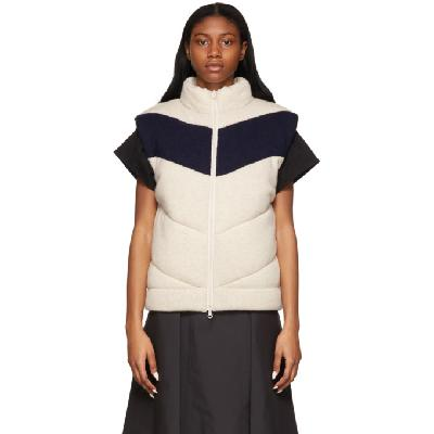 3.1 Phillip Lim Off-White & Navy Wool Chevron Vest